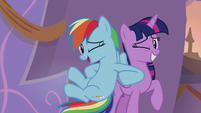 Rainbow pokes Twilight with her elbow S9E17