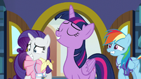 Rarity and Rainbow Dash grinning nervously S8E17