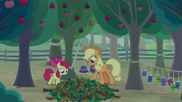 AJ and Apple Bloom set a pit trap S9E10