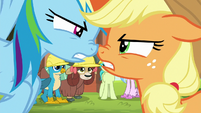 AJ and Rainbow arguing muzzle-to-muzzle S8E9