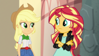 Applejack and Sunset look at each other EGS2