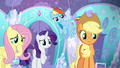 Applejack and friends looking at Shining Armor S6E1.png