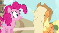 Applejack with scroll on her face S4E09