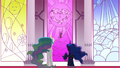 Celestia and Luna looking at the window depicting Shining Armor and Princess Cadance S3E01.png