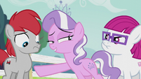Diamond Tiara points at Train Tracks; looks at Little Red S5E18
