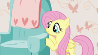 Fluttershy pushing Discord's cushy chair S7E12