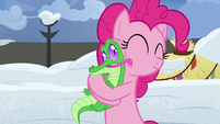 Gummy licks Pinkie's face as she hugs him S7E11