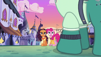 Pinkie and Saffron watch sign sail through the air S6E12