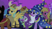 Ponies and Spike cheering S2E04