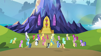 Ponyville residents approaching the castle S4E26