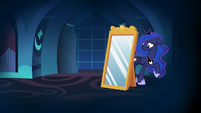 Princess Luna hides behind the dream mirror S7E10