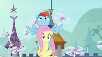 Rainbow and Fluttershy fly high into the sky S9E4