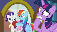 Rarity, Dash, and Twilight looking worried S8E17