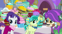 Rarity, Sandbar, and Yona hear Twilight S9E7