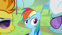 Spitfire and Fleetfoot looking at each other while Rainbow is looking at them S4E10