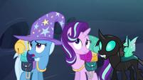 Starlight, Trixie, and Thorax hear buzzing S6E26