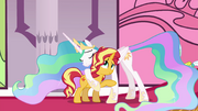 Sunset Shimmer hugging Princess Celestia EGFF