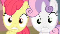 Sweetie Belle and Apple Bloom surprised S4E05