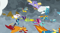 Wonderbolts and creatures soar downward S9E25