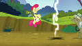 Apple Bloom dodges the twittermites' electric shock S5E04.png