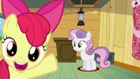 Apple Bloom pointing at Sweetie Belle standing S3E04