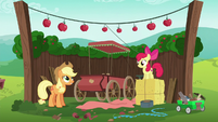 Applejack and Apple Bloom's traditional cart S6E14
