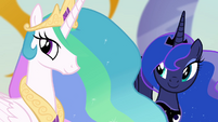 Celestia and Luna smiling at Twilight S4E02