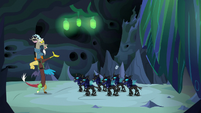 Discord tosses the microphone at the changelings S6E26