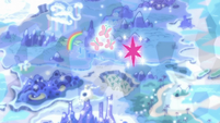 Fluttershy and Twilight's cutie marks float over Appleloosa S6E12