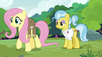 Fluttershy carries Lola the sloth to the tree S7E5