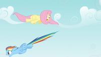 Fluttershy dodging Rainbow Dash S4E04