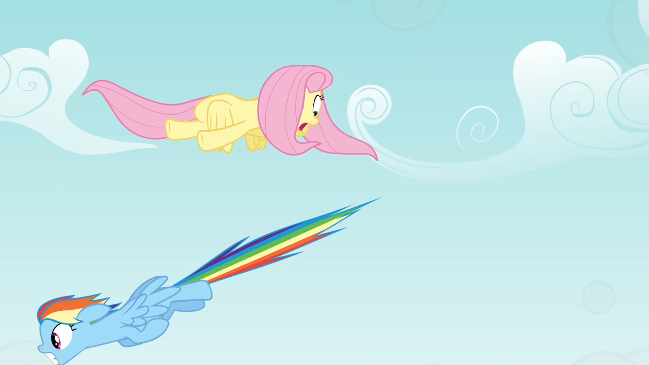 Image - Fluttershy dodging Rainbow Dash S4E04.png | My ...