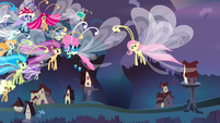 Fluttershy saying goodbye to the Breezies S4E16