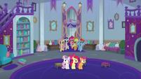Main five enter Twilight Sparkle's office S8E12