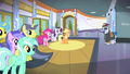 Pinkie, Applejack, and Rarity in the lobby S4E24.png
