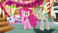 Pinkie Pie opens a trap door under Mudbriar S8E3