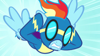 Rainbow Dash plugs her ears mid-flight S8E18
