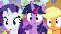 Rarity, Twilight, and AJ hear Discord's voice S9E24