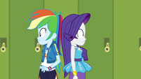 Rarity bumps into the real Rainbow Dash EGDS12b