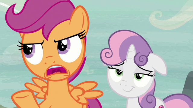 """File:Scootaloo """"Feather Bangs may have good timing"""" S7E8.png"""
