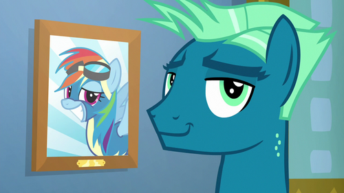 Sky Stinger smirking beside Rainbow's picture S6E24