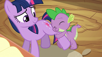 Spike hugs Twilight's leg S2E10