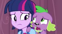 Spike whispering to Twilight EG2