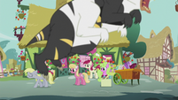The Flower ponies look at Derpy while a bugbear is flying S5E9
