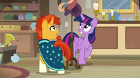 Twilight and Sunburs circle around the hat rack S7E24