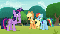 Twilight skeptical of Applejack and Rainbow S8E9