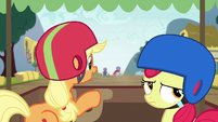 Applejack and Apple Bloom at back of the pack S6E14