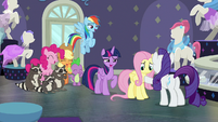 Main ponies laughing with Fluttershy S8E4