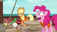 Pinkie Pie opening and closing her mouth S6E22