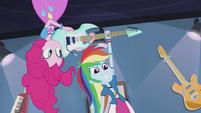 Pinkie hands guitar to Rainbow Dash EG2